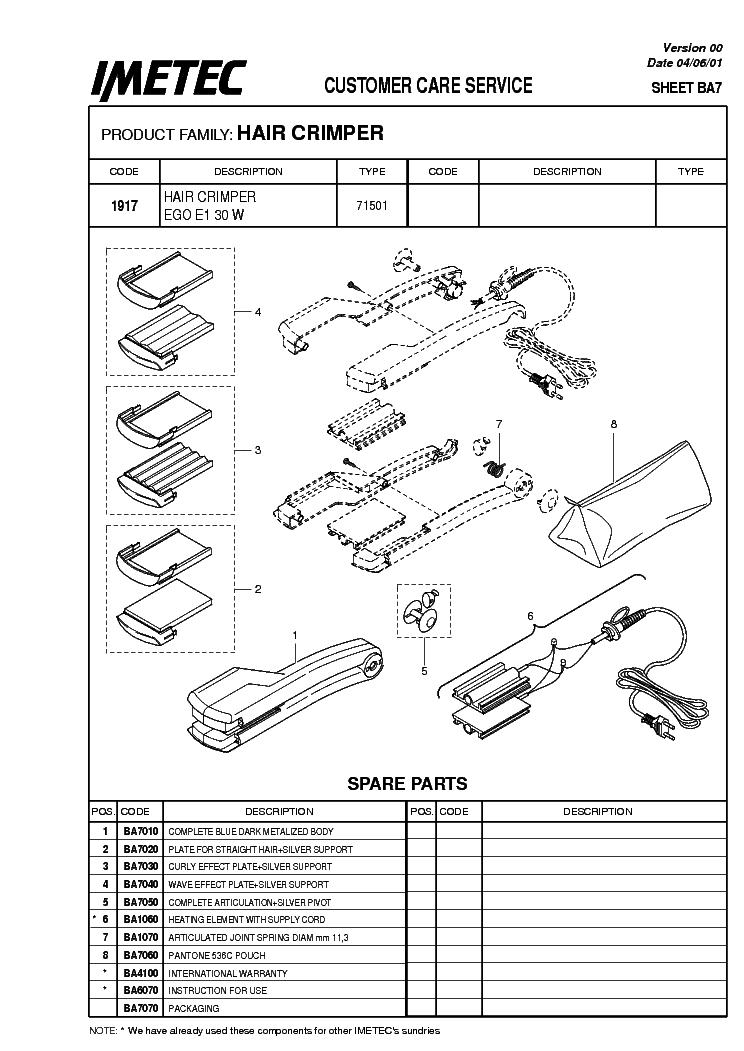 Imetec Piastra Ego E1 30 W Exploded Views Service Manual