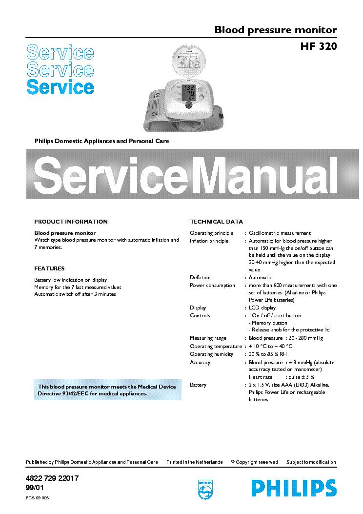 philips hf 320 blood pressure monitor service manual download rh elektrotanya com hotsy pressure washer repair manual simoniz pressure washer repair manual