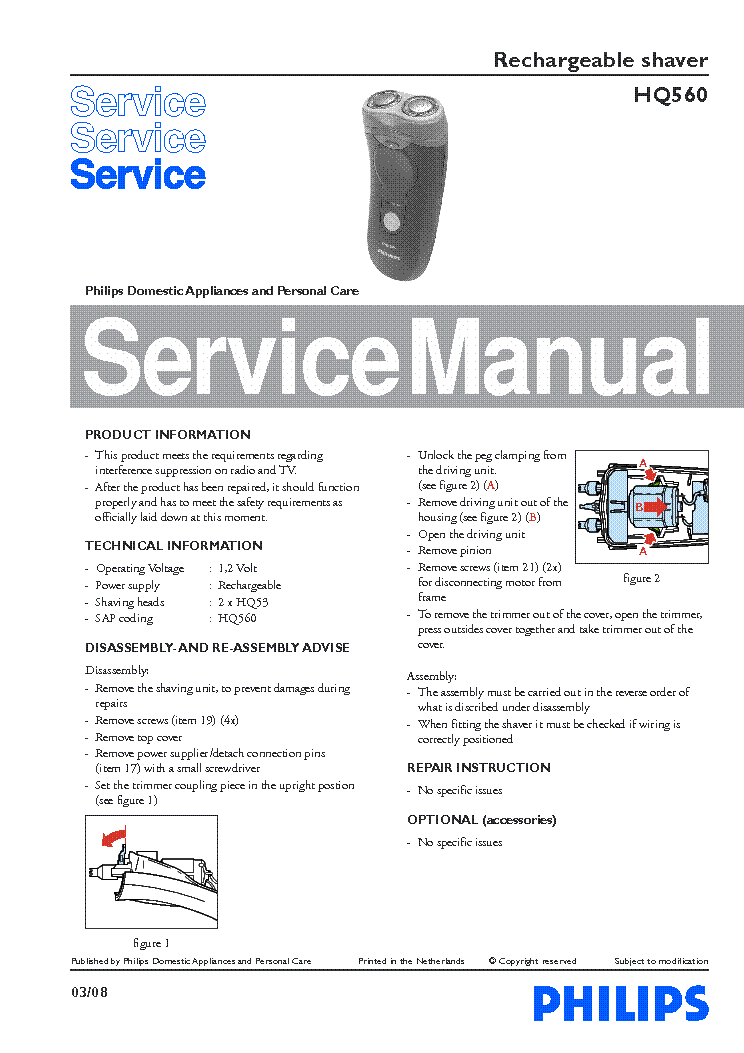 PHILIPS HQ560 RECHARGEABLE SHAVER service manual (1st page)
