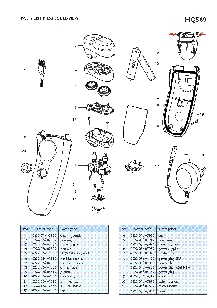 PHILIPS HQ560 RECHARGEABLE SHAVER service manual (2nd page)