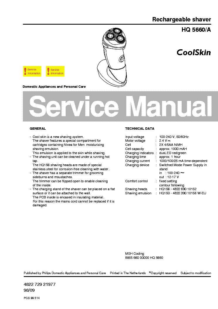 PHILIPS HQ5660A RECHARGEABLE SHAVER service manual (1st page)