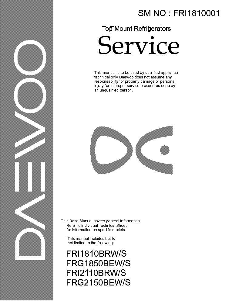 daewoo fri1810 2110 frg1850 2150 service manual download schematics rh elektrotanya com daewoo fridge service manual daewoo fridge service manual