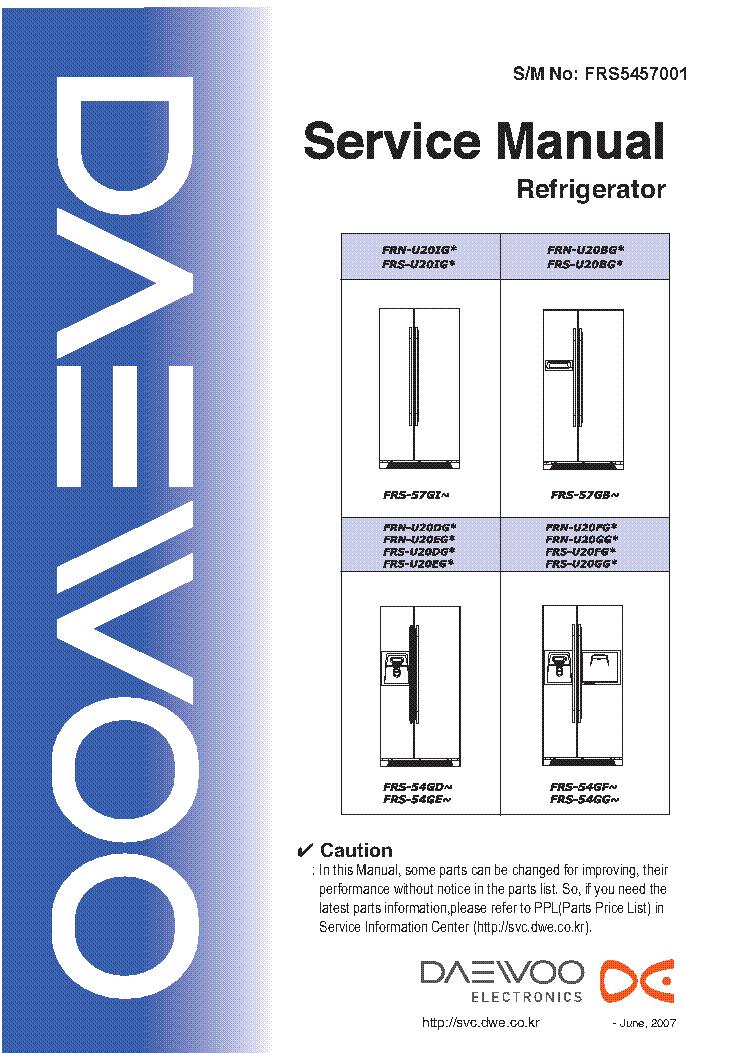 DAEWOO FRS-U20 FRN-U20 FRS-54 57 Service Manual download, schematics