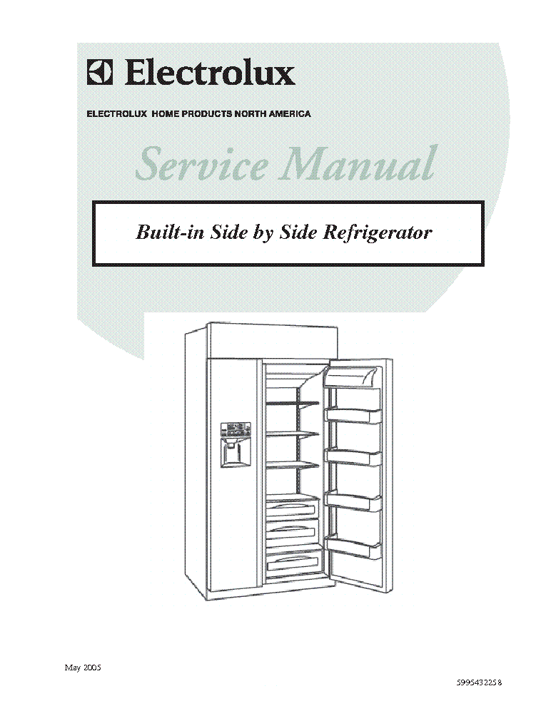 electrolux built in side by side refrigerator service manual rh elektrotanya com electrolux side by side refrigerator service manual frigidaire electrolux side by side refrigerator parts