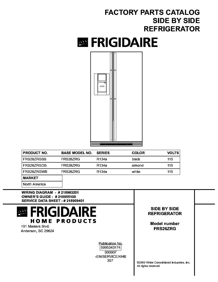 fridgidaire refregerator frs26zrg service manual. Black Bedroom Furniture Sets. Home Design Ideas