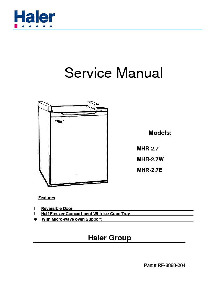 Haier hwd1600 service manual