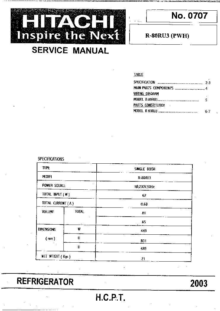 Hitachi ras Rac e14h2 Manual