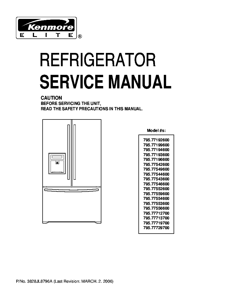 KENMORE 79053 79056 79074 79122 79184 79188 SM Service Manual ... on