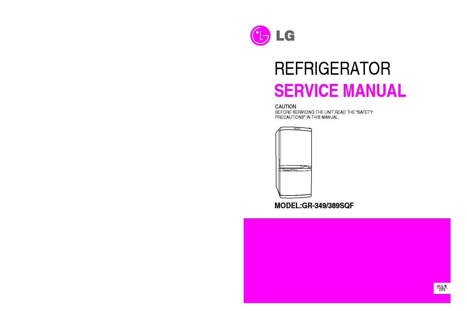 LG GR-349 389 SQF service manual (1st page)