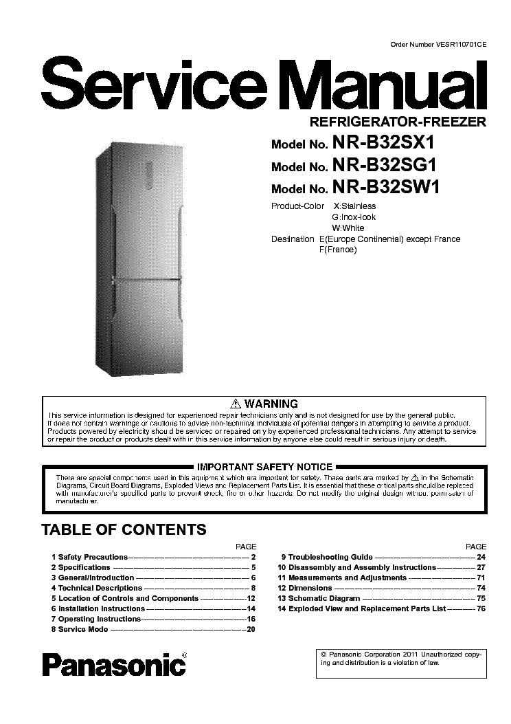 panasonic nr b32sx1 nr b32sg1 nr b32sw1 service manual download rh elektrotanya com panasonic refrigerator manual defrost panasonic refrigerator manual