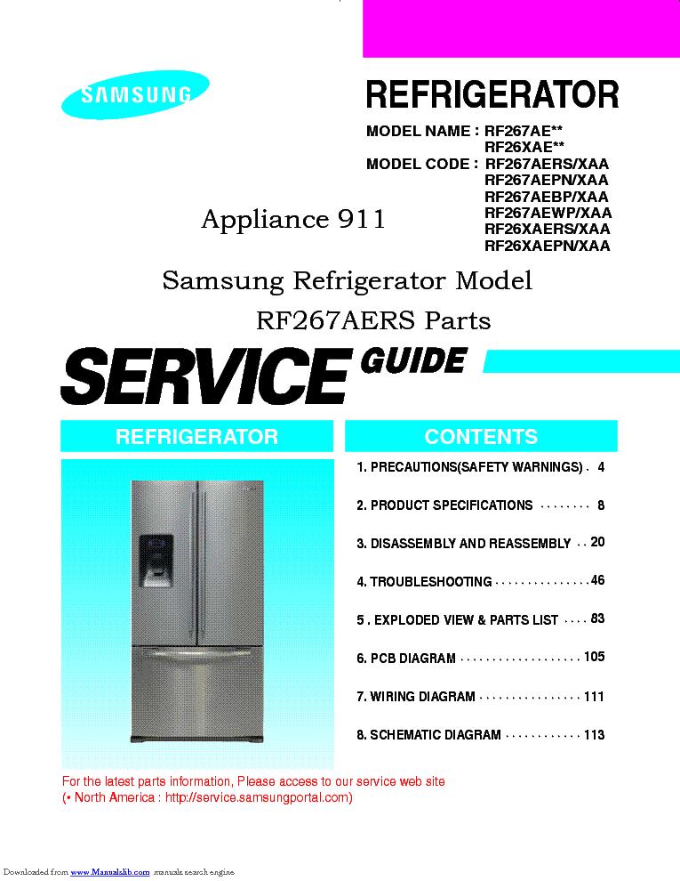 Samsung Rf267ae Series Refrigerator Service Manual Manual Guide