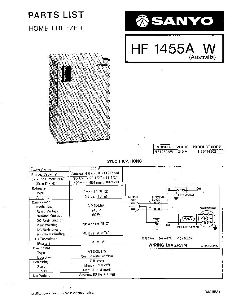Sanyo Refrigerator Wiring Diagram - Wiring Diagrams on