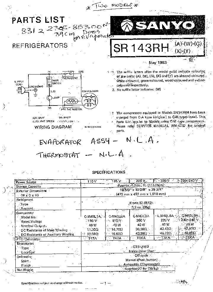 sanyo sr-143rh refrigerator service manual (1st page)