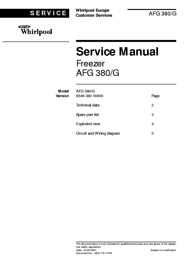 WHIRLPOOL AFG 380 G service manual