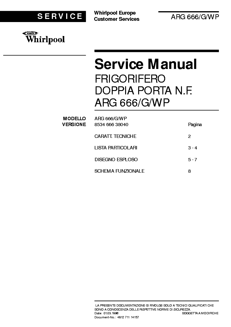 WHIRLPOOL ARG666G WP service manual (1st page)