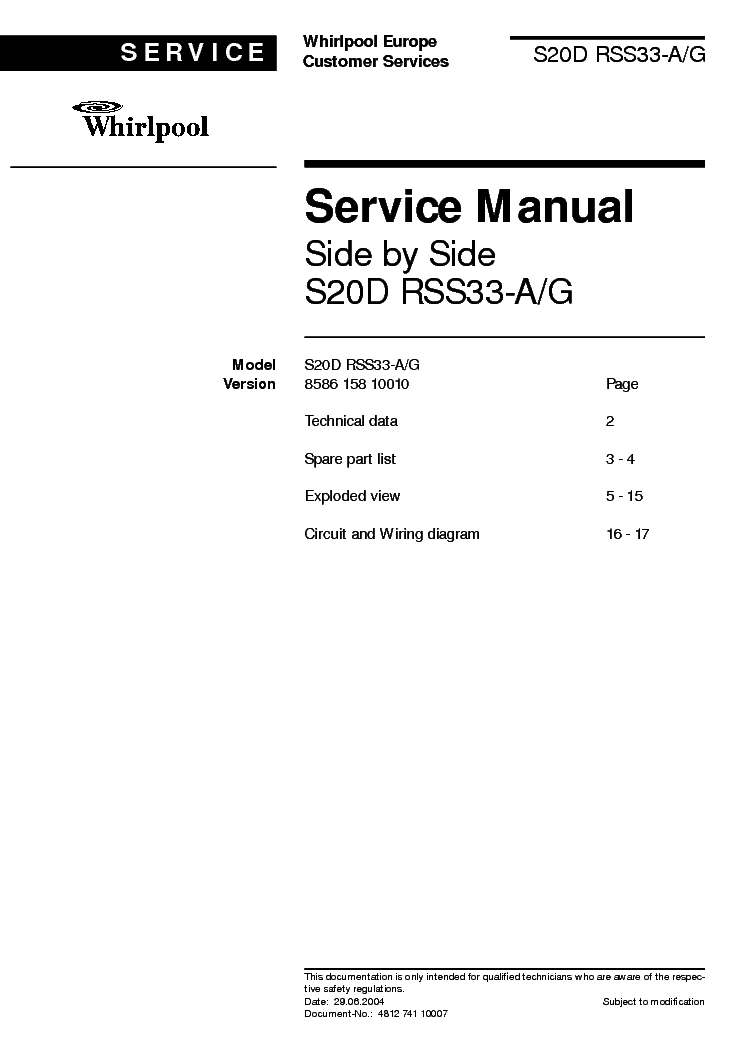 Whirlpool s25d-rss33-a g service manual download, schematics.