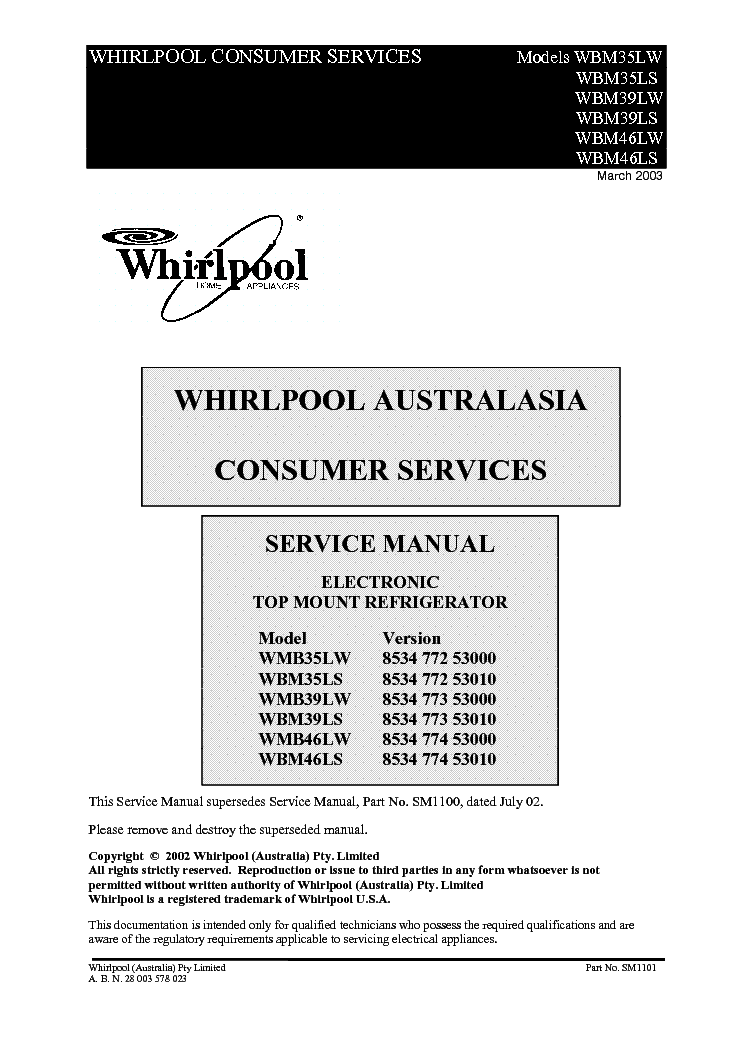 WHIRLPOOL WMB35,39,46 WBM35,39,46 service manual