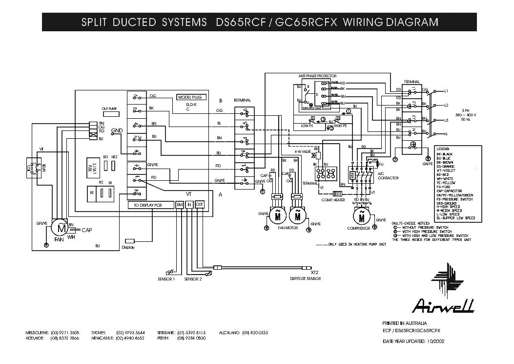 AIRWELL    DS   65RCF GC65RCFX    WIRING      DIAGRAM    Service Manual download     schematics     eeprom  repair