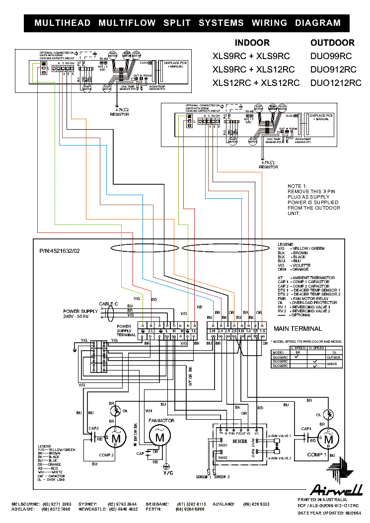 AIRWELL XLS-9-12RC DUO-99-912-1212RC WIRING-DIAGRAM Service Manual ...
