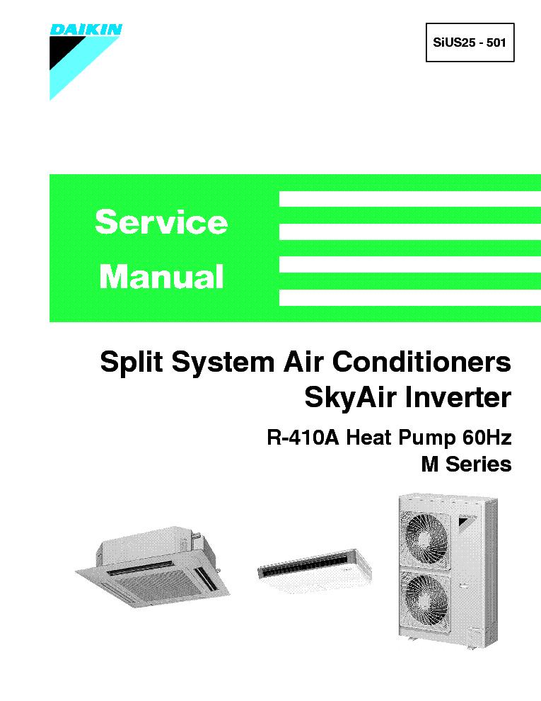 DAIKIN R-410A SIUS25-501 M SERIES SKYAIR Service Manual download