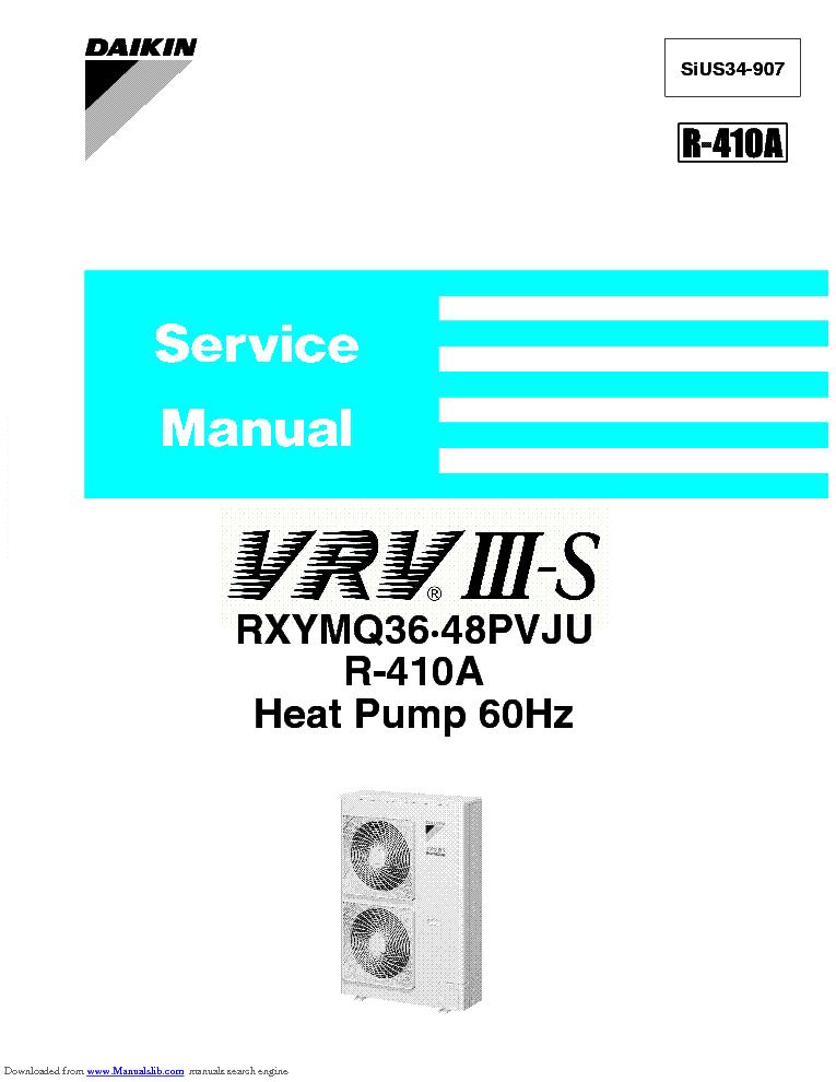 daikin vrv 3s rxymq36 48pvju r 410a heat pump sm service manual rh elektrotanya com daikin vrv iii installation manual daikin vrv 3 installation manual