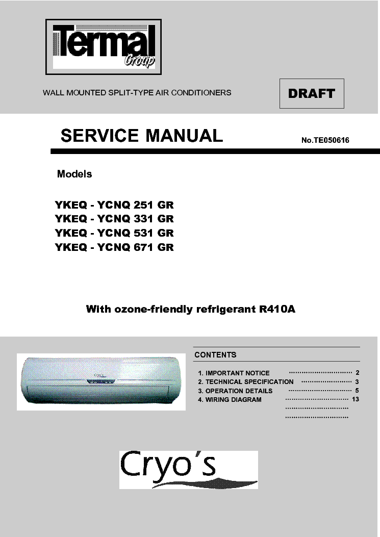Cryos YKEQ 331 GR Service Manual