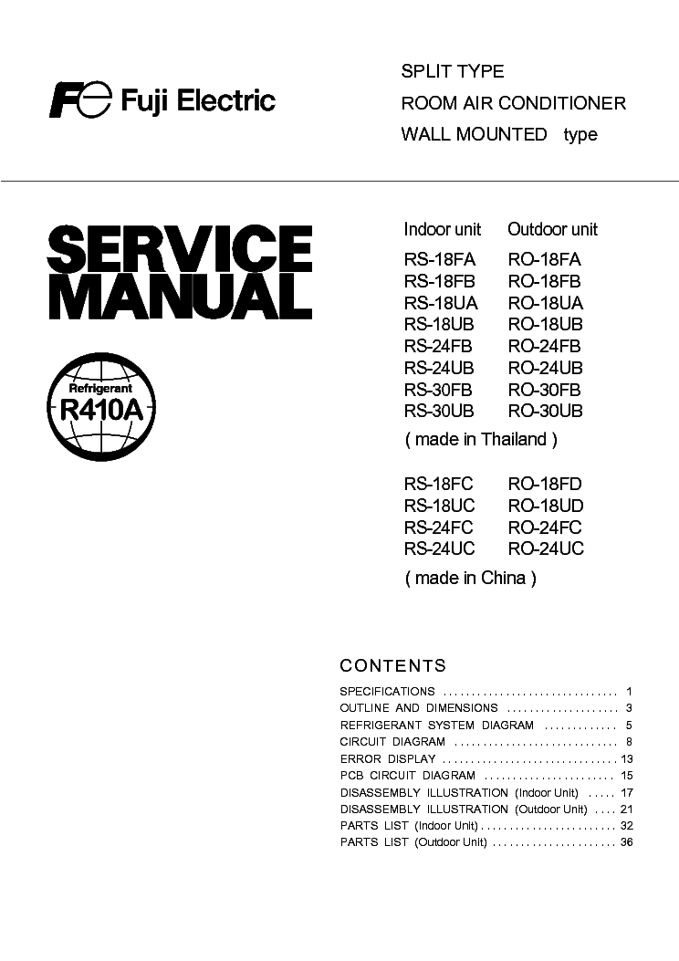 fuji electric rs ro18 24uc 30ub sm service manual downloadfuji electric rs ro18 24uc 30ub sm service manual (1st page)