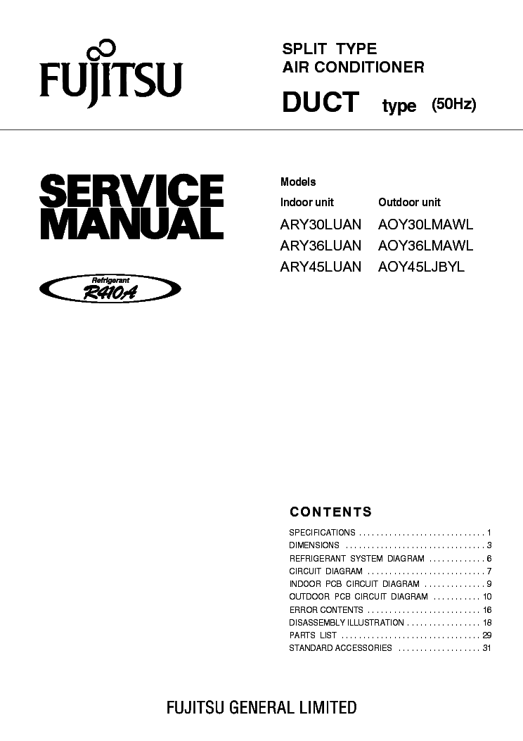 fujitsu ary30 36 45luan aoy30 36 45lmawl service manual download rh elektrotanya com service manual fujitsu inverter service manual fujitsu air conditioner