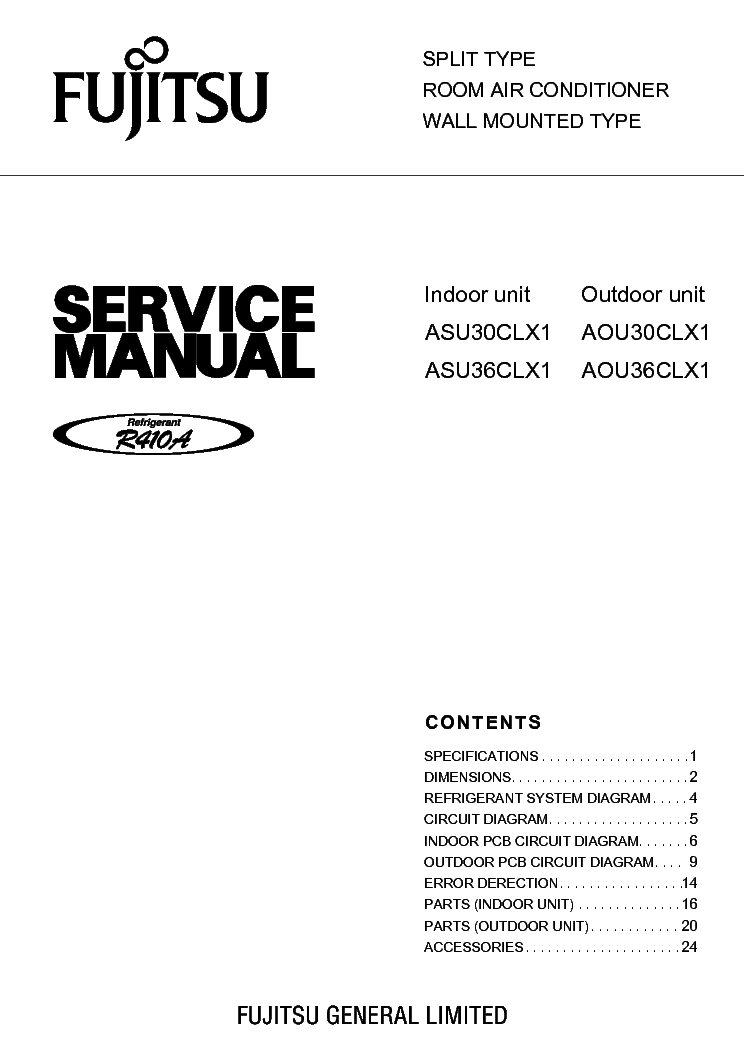 Fujitsu Asu30clx1 Asu36clx1 Aou30clx1 Aou36clx1 Sm Service