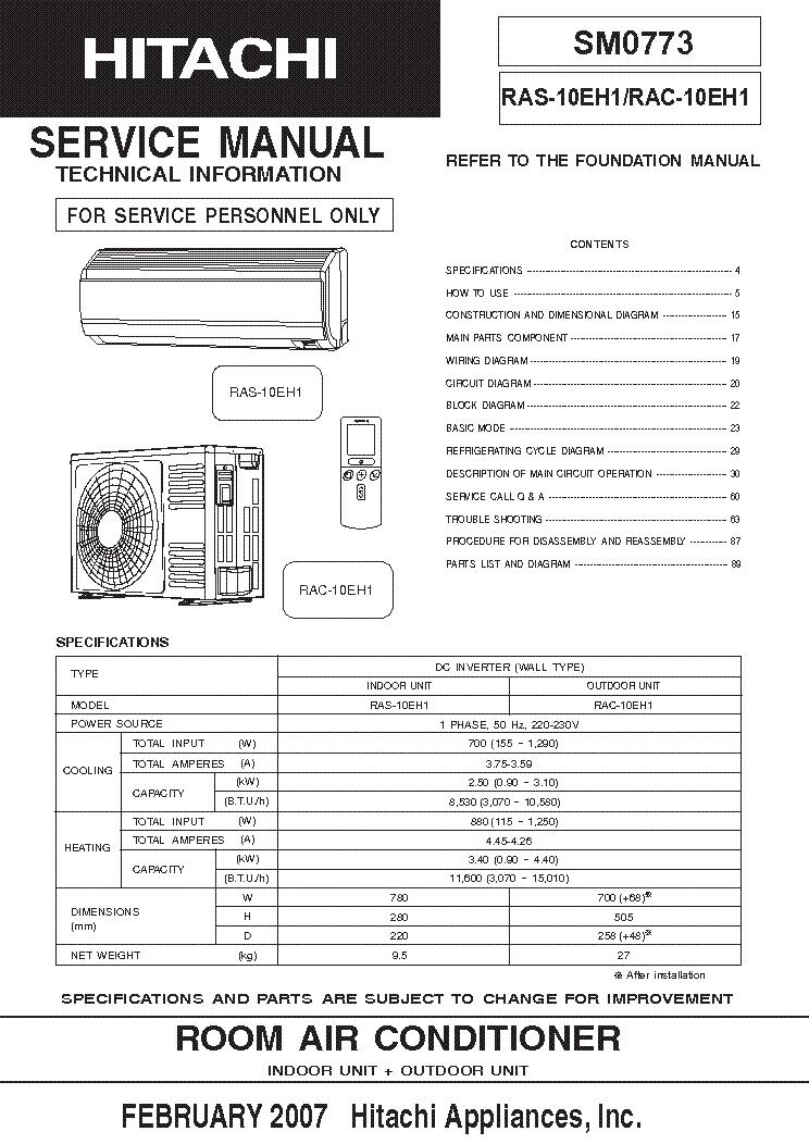 Hitachi ras 12u Manual