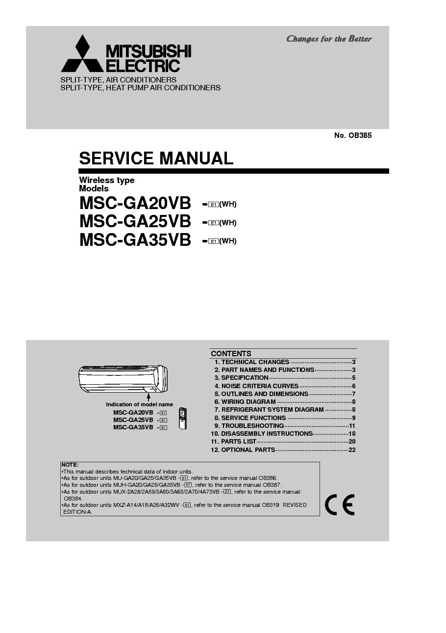 Mitsubishi Heat Pump Schematics List Of Schematic Circuit Diagram Amana Agr5844vdw Wiring Msc Ga20vb Ga25vb Ga35vb Service Manual Download Rh Elektrotanya Com