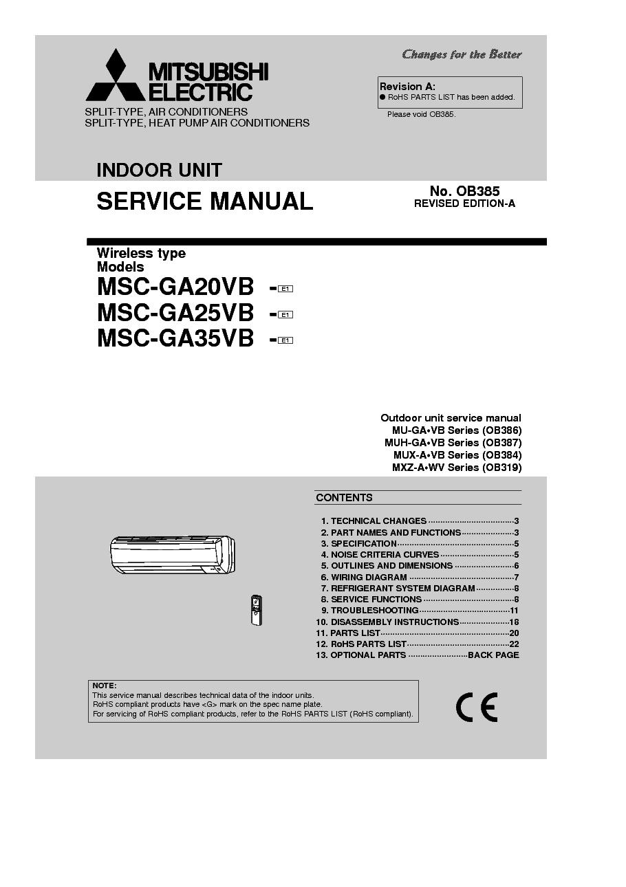 MITSUBISHI MSC-GA20VB MSC-GA25VB MSC-GA35VB REV.A service manual (