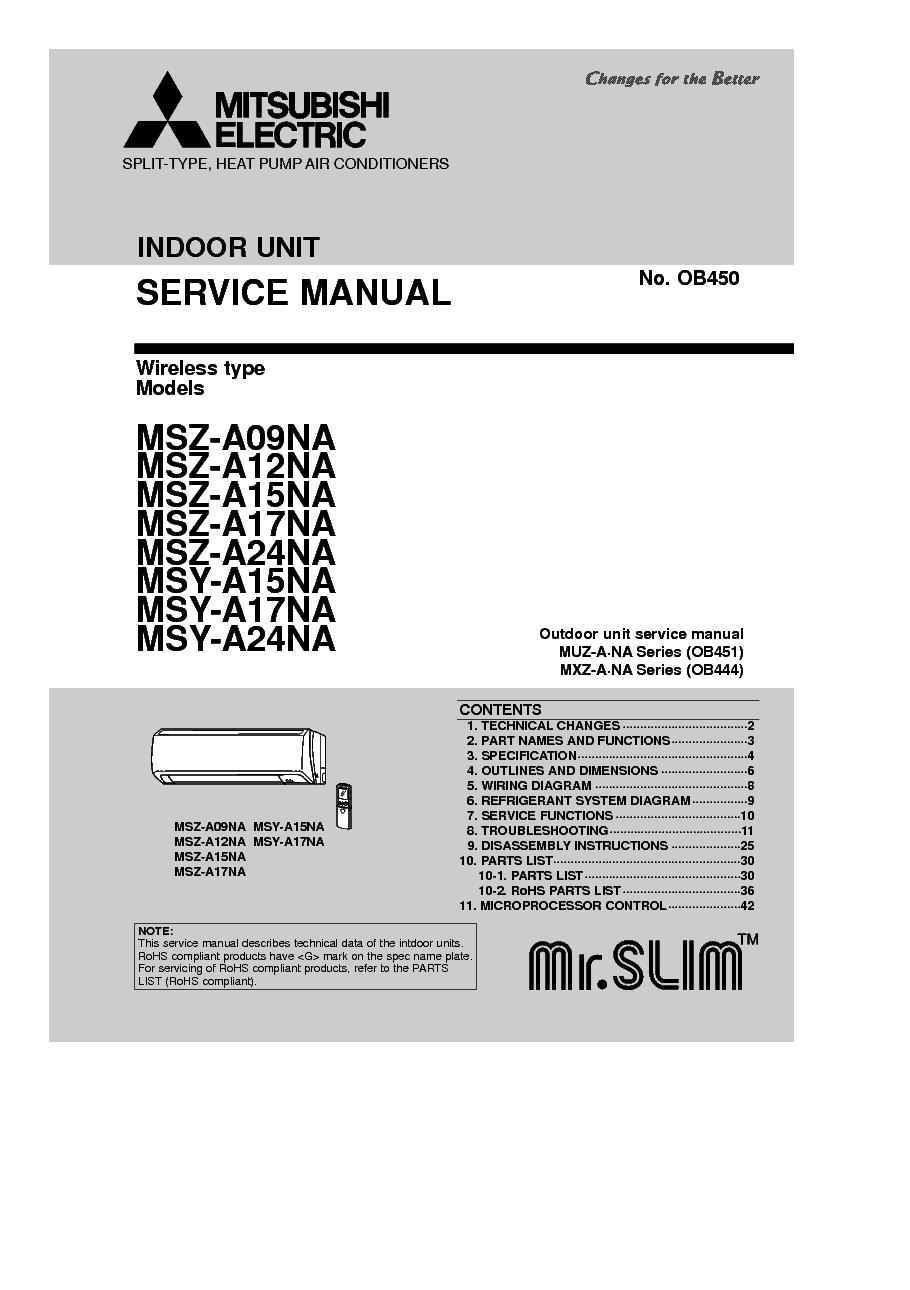 MITSUBISHI MSZ-A09-24NA service manual (1st page)