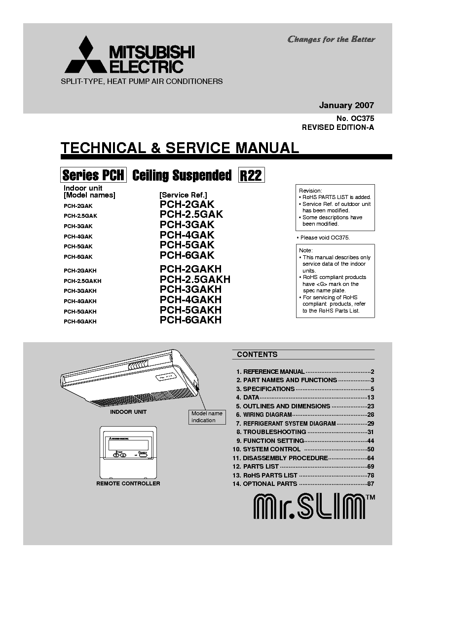 MITSUBISHI PCH-2-6GAK Service Manual download, schematics, eeprom