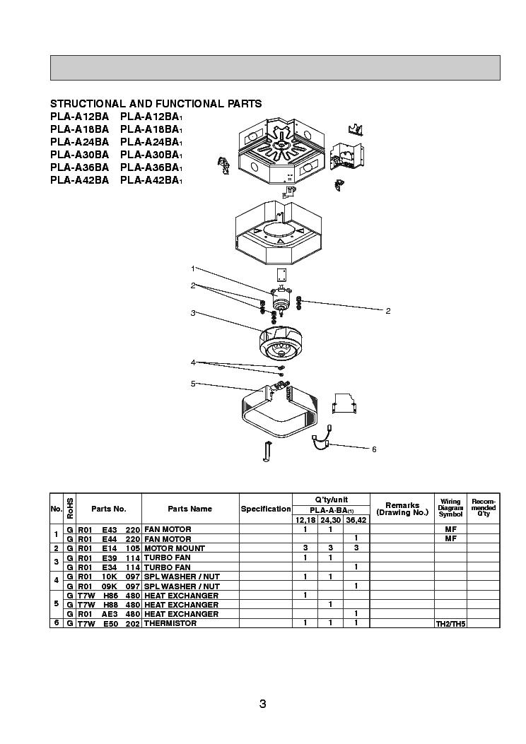 MITSUBISHI PLA-A12-A18-A24-A30-A36-A42BA PLP-42BAMD PARTS Service