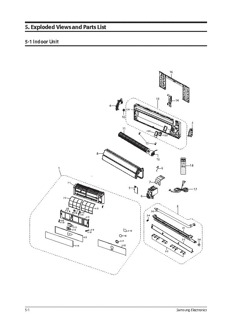 samsung aqv 12vscn explded view parts list service manual