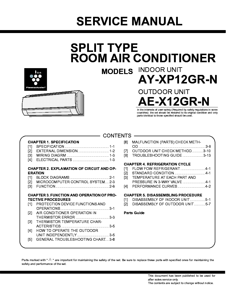 Friedrich Split Type Room Air Conditioner Service Manual Manual Guide