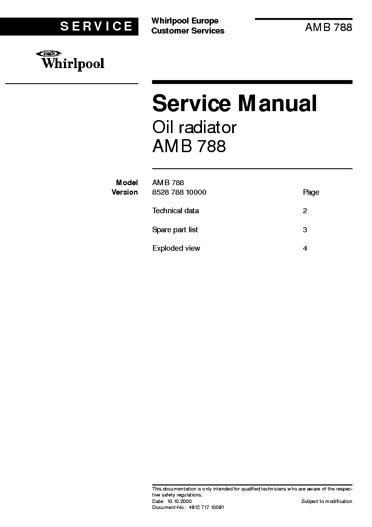 WHIRLPOOL AMB788 service manual (1st page)