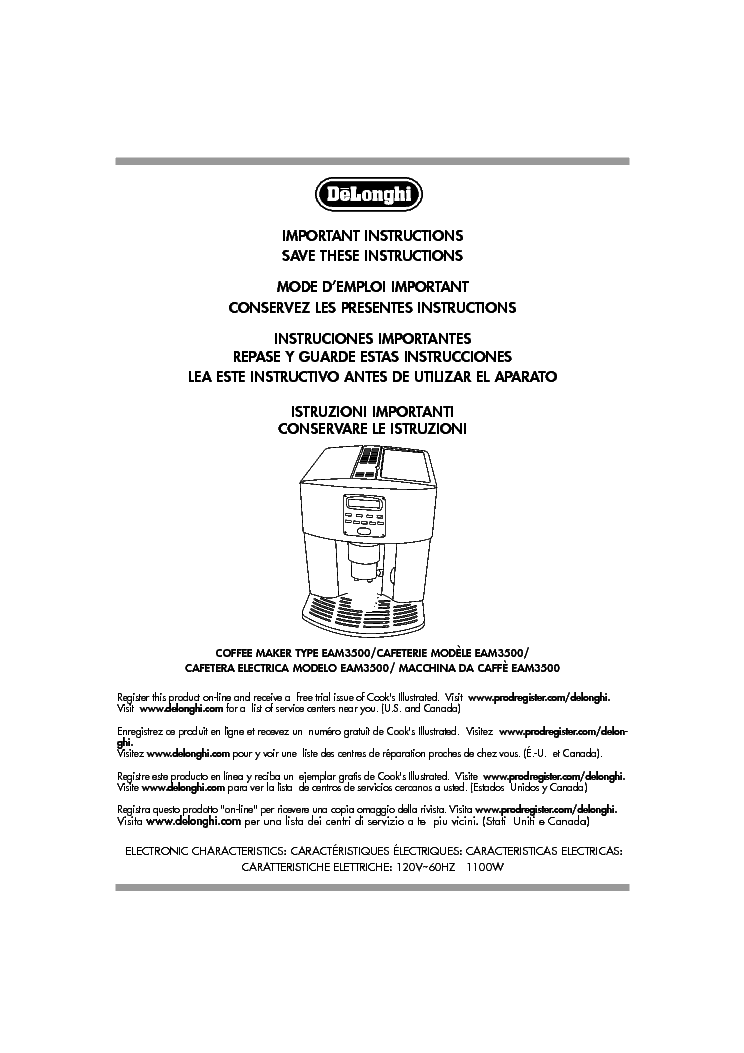 Delonghi Bco264b Manual Pdf