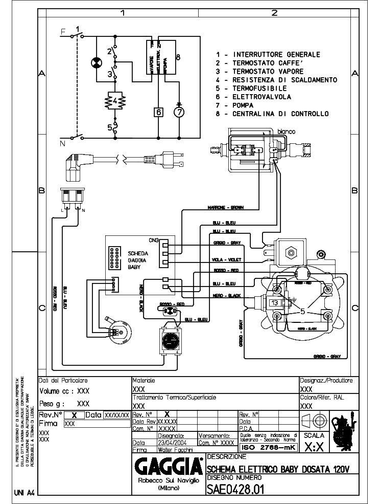 Gaggia Classic Electrical Wiring Diagram Service Manual