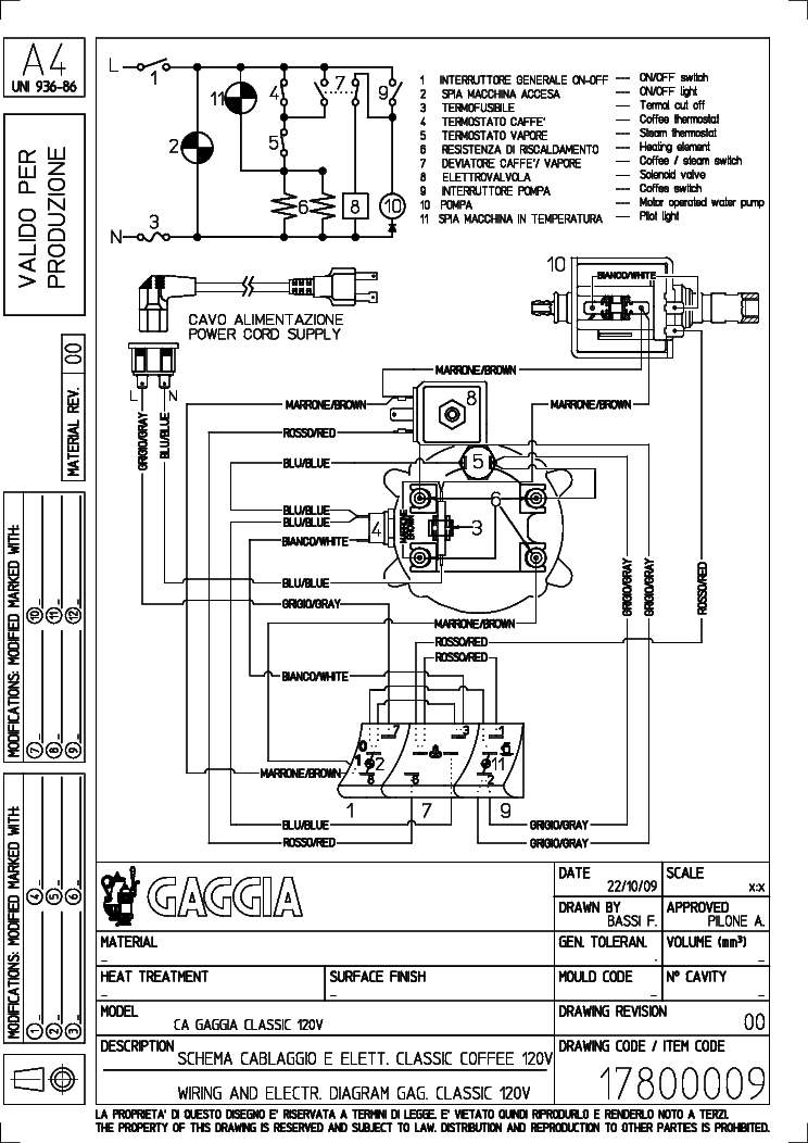 gaggia classic electrical wiring diagram service manual (1st page)