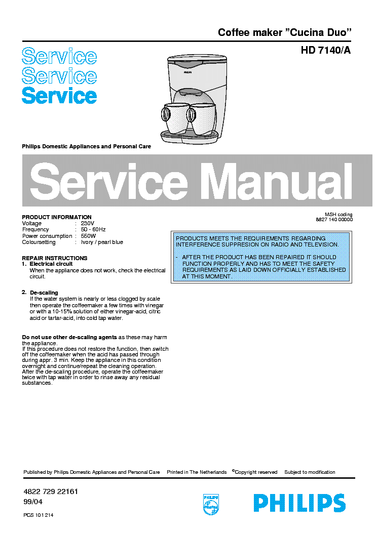 philips hd 7140 a cucina duo sm service manual 1st page
