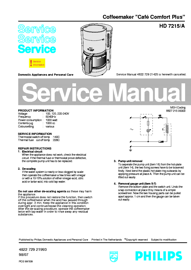 PHILIPS HD-7215-A CAFE-COMFORT-PLUS SM service manual (1st page)