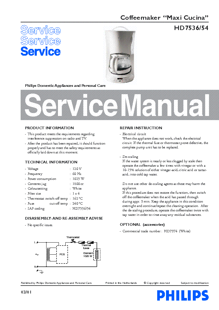 PHILIPS HD-7536-54 MAXI-CUCINA SM service manual (1st page)