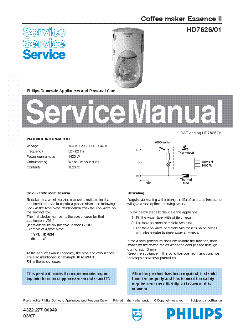PHILIPS HD-7626-01 ESSENCE-2 SM service manual (1st page)