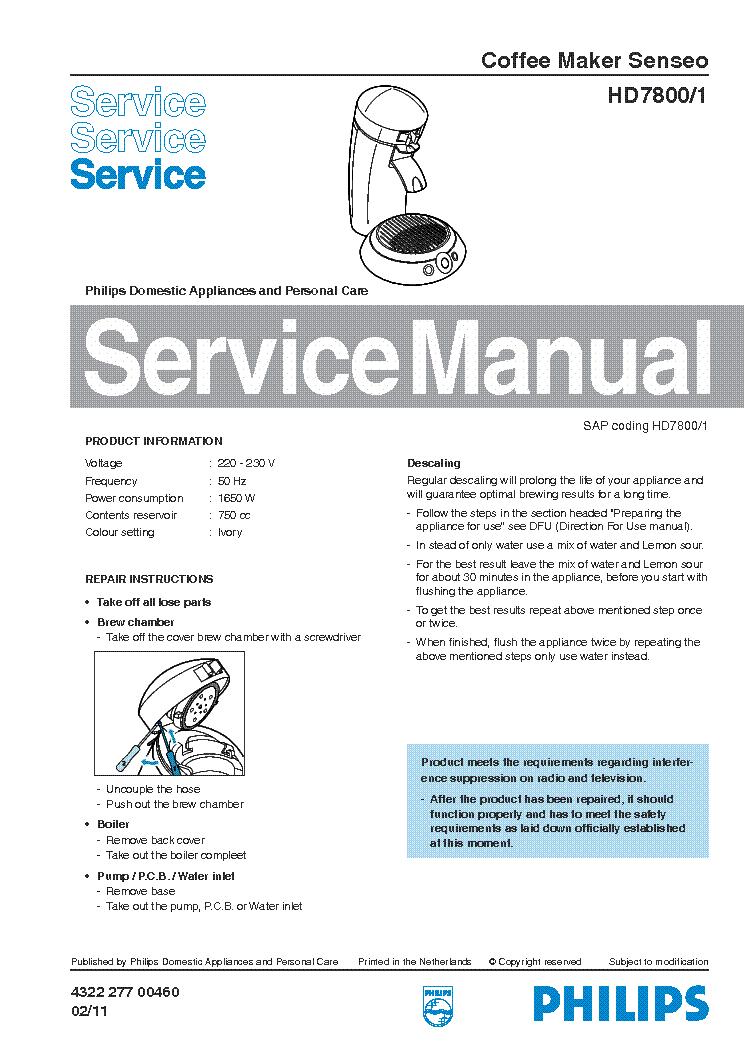 philips hd 7800 1 senseo sm service manual download schematics rh elektrotanya com philips senseo manual english philips senseo manual pdf