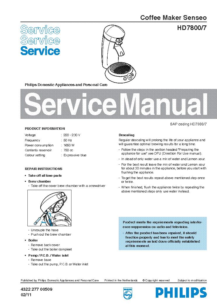 philips hd 7800 7 senseo sm service manual download Service Manuals Service Manuals