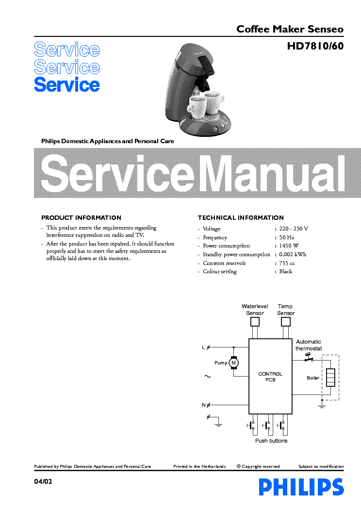 Senseo Coffee Maker Repair Manual : PHILIPS HD7810-60 COFFEE MAKER SENSEO Service Manual download, schematics, eeprom, repair info ...