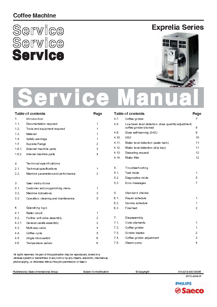 philips saeco exprelia series coffee machine sm rev00 service manual rh elektrotanya com Service Manuals Service Manuals