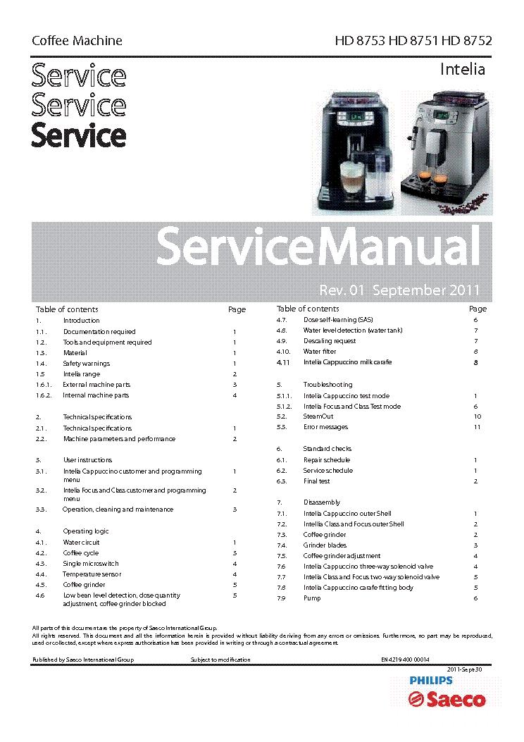 philips saeco intelia hd8752 sm service manual download schematics rh elektrotanya com saeco service manual pdf Cessna MAINTEANCE Manual